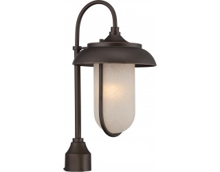 "Nuvo Lighting 62/674 - LED - Outdoor Post Light Fixture - Tulsa Collection - Transitional Style - Mahogany Bronze Finish - Satin Amber Glass - Includes Omni ""A"" Bulb - Twist and Lock (GU24) - 9.8 Watt - 2,700 Kelvin"