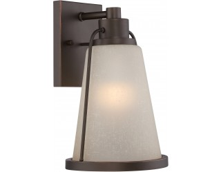 "Nuvo Lighting 62/681 - LED - Outdoor Wall Fixture - Tolland Collection - Transitional Style - Mahogany Bronze Finish - Champagne Linen Glass - Includes Omni ""A"" Bulb - Twist and Lock (GU24) - 9.8 Watt - 2,700 Kelvin"