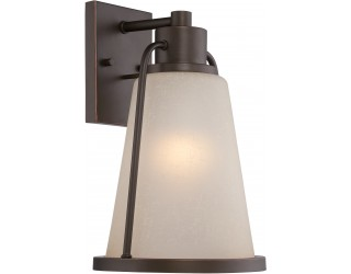 "Nuvo Lighting 62/682 - LED - Outdoor Wall Fixture - Tolland Collection - Transitional Style - Mahogany Bronze Finish - Champagne Linen Glass - Includes Omni ""A"" Bulb - Twist and Lock (GU24) - 9.8 Watt - 2,700 Kelvin"