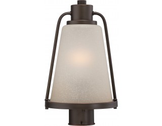 "Nuvo Lighting 62/684 - LED - Outdoor Post Light Fixture - Tolland Collection - Transitional Style - Mahogany Bronze Finish - Champagne Linen Glass - Includes Omni ""A"" Bulb - Twist and Lock (GU24) - 9.8 Watt - 2,700 Kelvin"