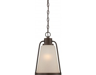 "Nuvo Lighting 62/685 - LED - Outdoor Hanging Ceiling Fixture - Tolland Collection - Transitional Style - Mahogany Bronze Finish - Champagne Linen Glass - Includes Omni ""A"" Bulb - Twist and Lock (GU24) - 9.8 Watt - 2,700 Kelvin"