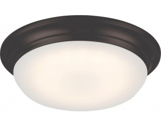 Nuvo Lighting 62/702 - LED - Indoor Ceiling Flush Mount Fixture - Libby Collection - Transitional Style - Aged Bronze Finish - Frosted Glass - Includes LED Warm Dim Panel - 16 Watt - 2,700 - 2,200 Kelvin