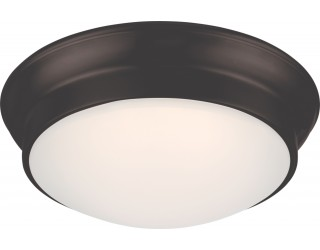 Nuvo Lighting 62/705 - LED - Indoor Ceiling Flush Mount Fixture - Conrad Collection - Transitional Style - Aged Bronze Finish - Frosted Glass - Includes LED Warm Dim Panel - 16 Watt - 2,700 - 2,200 Kelvin