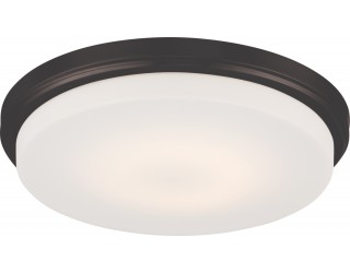Nuvo Lighting 62/709 - LED - Indoor Ceiling Flush Mount Fixture - Dale Collection - Transitional Style - Aged Bronze Finish - Opal Frosted Glass - Includes LED Warm Dim Panel - 16 Watt - 2,700 - 2,200 Kelvin