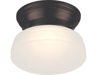 Nuvo Lighting 62/712 - LED - Indoor Ceiling Flush Mount Fixture - Bogie Collection - Transitional Style - Aged Bronze Finish - Frosted Glass - Includes LED Warm Dim Panel - 7.8 Watt - 2,700 - 2,200 Kelvin