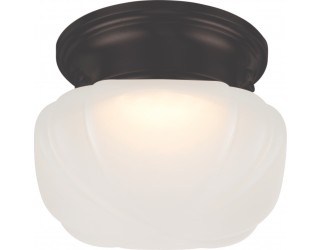 Nuvo Lighting 62/713 - LED - Indoor Ceiling Flush Mount Fixture - Bogie Collection - Transitional Style - Aged Bronze Finish - Frosted Glass - Includes LED Warm Dim Panel - 7.8 Watt - 2,700 - 2,200 Kelvin