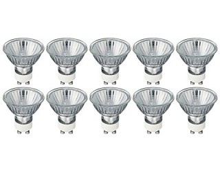 (10 Pack) KOR K25322 - 50MR16/120V/FL/GU10 - Halogen - 50 Watt - 120 Volt - Flood - MR16 - Twist and Lock (GU10) - Cover Glass