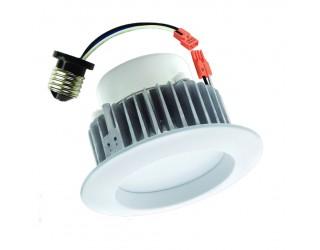 Luxrite LR23005 - LED/DL4/3000K/FL/ES - Dimmable LED Retrofit Fixture - 9 Watt - 120 Volt - Medium (E26) Adapter - 3,000 Kelvin (Soft White)
