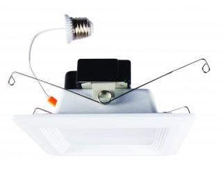 Luxrite LR23035 - LED/DL5/5000K/FL/SQ - Dimmable LED Retrofit Fixture - 15 Watt - 120 Volt - Medium (E26) Adapter - 5,000 Kelvin (Bright White)
