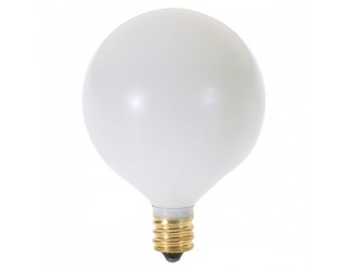 (2 Pack) Satco S3772 - 60G16 1/2/W - Incandescent - 120 Volt - 60 Watt - G16.5 - Candelabra (E12) - Dimmable Globe Light - Satin White