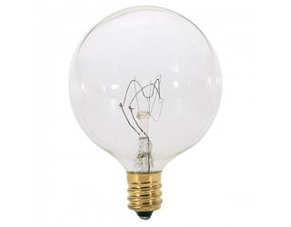 Satco S3822 - 25G16 1/2 - Incandescent - 120 Volt - 25 Watt - G16.5 - Candelabra (E12) - Dimmable Globe Light - Clear Finish
