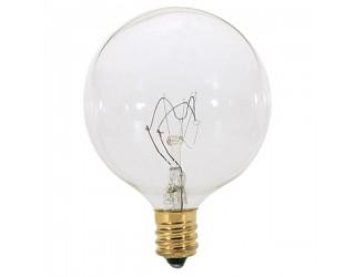 Satco S3823 - 40G16 1/2 - Incandescent - 120 Volt - 40 Watt - G16.5 - Candelabra (E12) - Dimmable Globe Light - Clear Finish