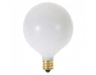 Satco S3824 - 15G16 1/2/W - Incandescent - 120 Volt - 15 Watt - G16.5 - Candelabra (E12) - Dimmable Globe Light - Satin White