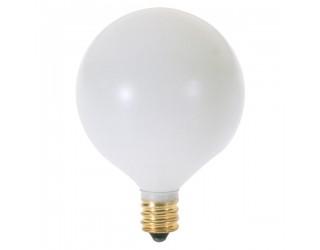 Satco S3825 - 25G16 1/2/W - Incandescent - 120 Volt - 25 Watt - G16.5 - Candelabra (E12) - Dimmable Globe Light - Satin White