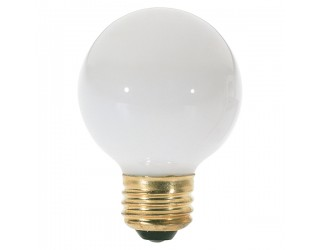 Satco S3827 - 25G18 1/2/W - Incandescent - 120 Volt - 25 Watt - G18.5 - Medium (E26) - Dimmable Globe Light - Gloss White