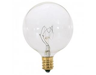 Satco S3831 - 60G16 1/2 - Incandescent - 120 Volt - 60 Watt - G16.5 - Candelabra (E12) - Dimmable Globe Light - Clear Finish