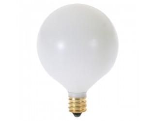 Satco S3832 - 60G16 1/2/W - Incandescent - 120 Volt - 60 Watt - G16.5 - Candelabra (E12) - Dimmable Globe Light - Satin White
