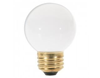 Satco S3841 - 25G16 1/2/W - Incandescent - 120 Volt - 25 Watt - G16.5 - Medium (E26) - Dimmable Globe Light - Gloss White