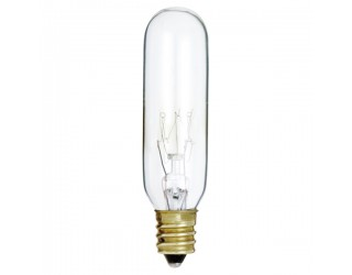 Satco S3910 - 15T6 - Incandescent - 130 Volt - 15 Watt - T6 - Candelabra (E12) - Indicator & Sign - Dimmable - Clear Finish