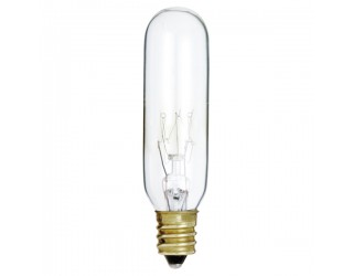 Satco S3912 - 15T6/145V - Incandescent - 145 Volt - 15 Watt - T6 - Candelabra (E12) - Indicator & Sign - Dimmable - Clear Finish