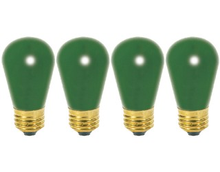 (4 Pack) Satco S3962 - 11S14/G - Incandescent - 11 Watt - 130 Volt - S14 - Medium (E26) - Ceramic Green Finish