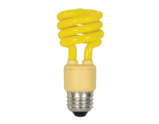 Satco S5511 - 13T2/Bug - 13 Watt - 120 Volt - Compact Fluorescent - T2 - Medium (E26) - Yellow Bug Light