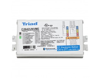 Universal Lighting Technologies - Triad C2642UNVME - Electronic Fluorescent Ballast for 1 or 2-Lamp System - 26 Watt CFL - 120/277 Volt - Programmed Start