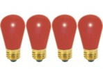 (4 Pack) Satco S3961 - 11S14/R - Incandescent - 11 Watt - 130 Volt - S14 - Medium (E26) - Ceramic Red Finish
