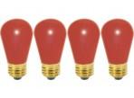 (4 Pack) Satco S3961 - 11S14/R - Incandescent - 11 Watt - 130 Volt - S14 - Medium (E26) - Ceramic Red Finish